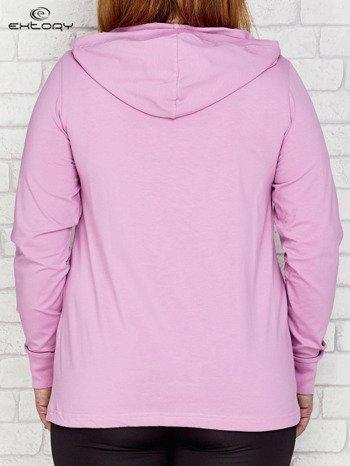 Jasnofioletowa bluza z kapturem i troczkami