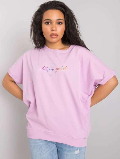 Jasnofioletowa bluzka plus size z napisem Jewel