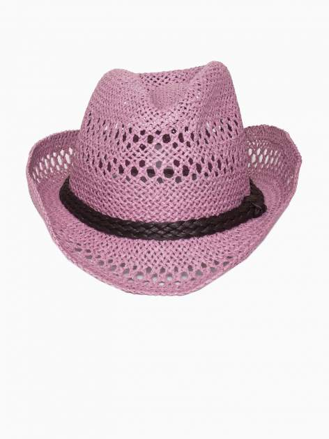 Jasnofioletowy damski kapelusz kowbojski z ciemną plecionką                                  zdj.                                  2