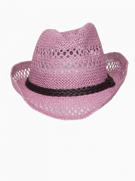 Jasnofioletowy damski kapelusz kowbojski z ciemną plecionką                                  zdj.                                  6