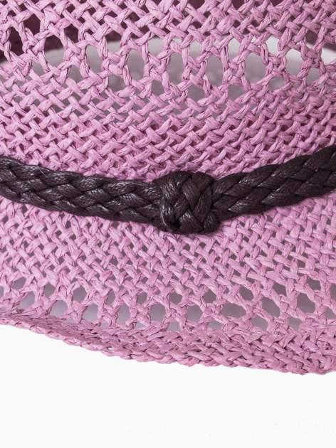 Jasnofioletowy damski kapelusz kowbojski z ciemną plecionką                                  zdj.                                  9