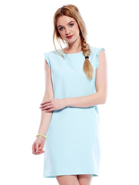 Jasnomiętowa sukienka z drobnymi falbankami                                  zdj.                                  1