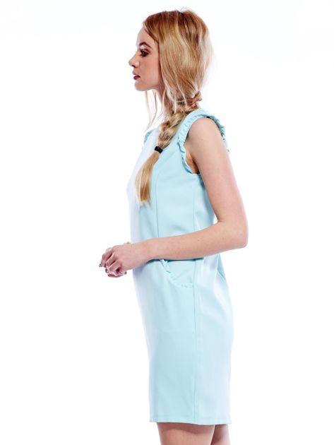 Jasnomiętowa sukienka z drobnymi falbankami                              zdj.                              5