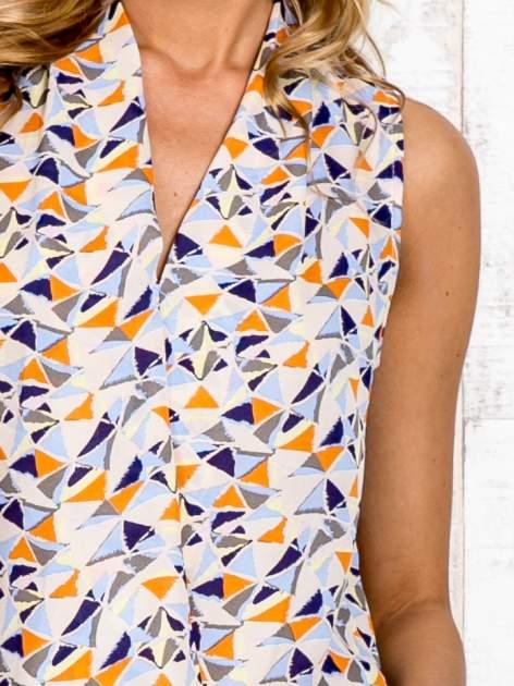 Jasnoniebieska bluzka koszulowa w geometryczne wzory                                  zdj.                                  6