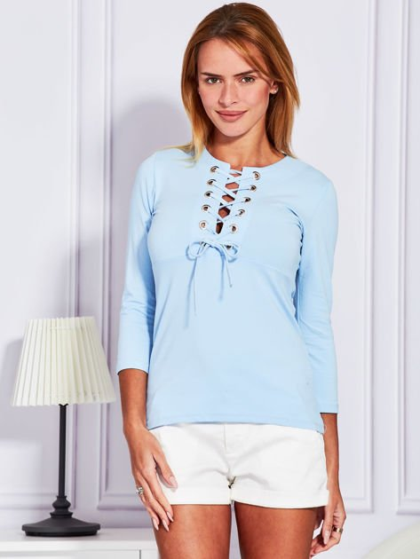 Jasnoniebieska bluzka lace up                                  zdj.                                  1