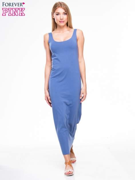 Jasnoniebieska długa sukienka maxi na ramiączkach                                  zdj.                                  4