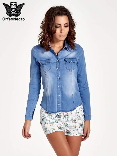 Jasnoniebieska jeansowa koszula z cieniowaniem                                  zdj.                                  1