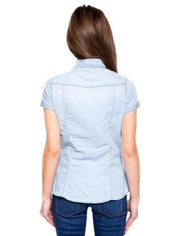Jasnoniebieska koszula jeansowa z krótkim rękawem                                  zdj.                                  3