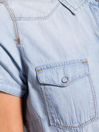 Jasnoniebieska koszula jeansowa z krótkim rękawem                                  zdj.                                  6