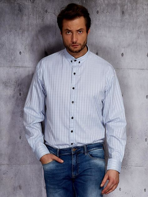Jasnoniebieska koszula męska w delikatny wzór PLUS SIZE                              zdj.                              1