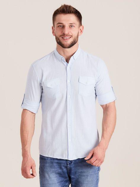 Jasnoniebieska koszula męska z bawełny                              zdj.                              1
