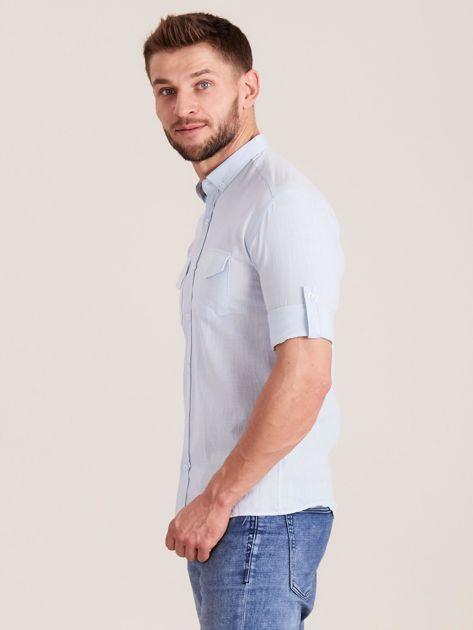 Jasnoniebieska koszula męska z bawełny                              zdj.                              3
