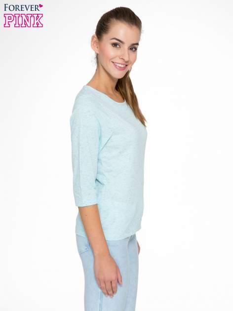 Jasnoniebieska melanżowa bluzka z rękawami 3/4                                  zdj.                                  3