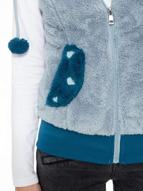Jasnoniebieska pluszowa kamizelka panda z kapturem z uszkami i pomponami                                  zdj.                                  8