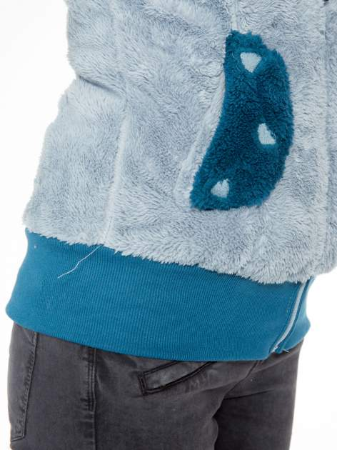 Jasnoniebieska pluszowa kamizelka panda z kapturem z uszkami i pomponami                                  zdj.                                  9