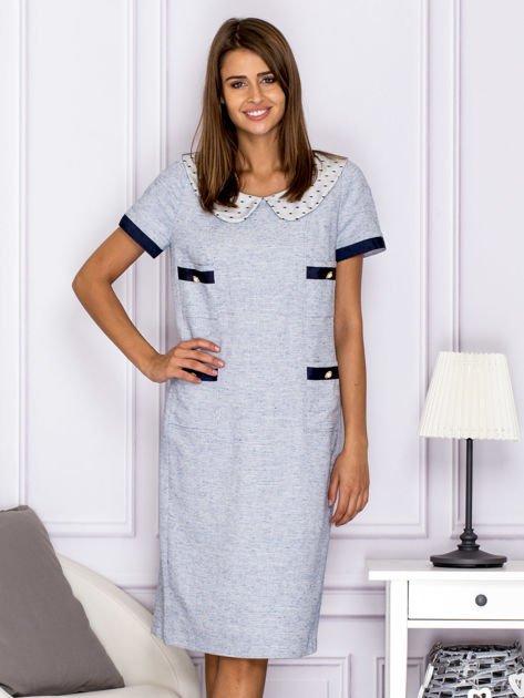 Jasnoniebieska sukienka z kieszeniami                                  zdj.                                  1