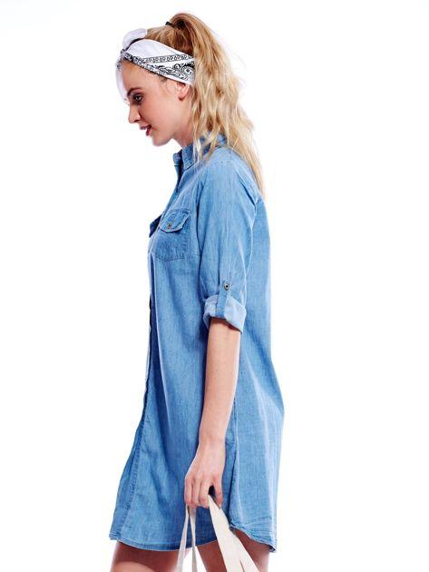 Jasnoniebieska sukienka z kołnierzykiem                              zdj.                              3