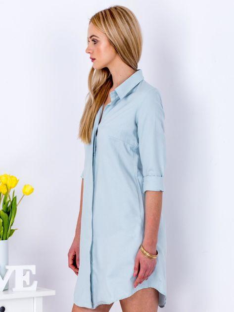 Jasnoniebieska sukienka z kołnierzykiem                               zdj.                              8