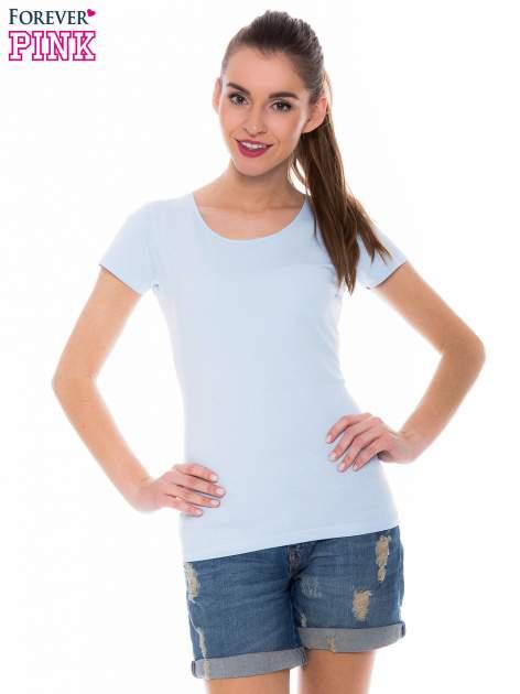Jasnoniebieski basicowy t-shirt z okrągłym dekoltem                                  zdj.                                  1