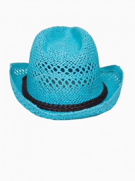 Jasnoniebieski damski kapelusz kowbojski z ciemną plecionką                                  zdj.                                  5