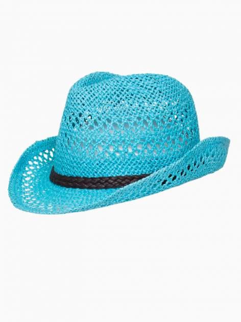 Jasnoniebieski damski kapelusz kowbojski z ciemną plecionką                                  zdj.                                  7