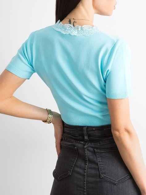 Jasnoniebieski rozpinany sweter z koronką                              zdj.                              2