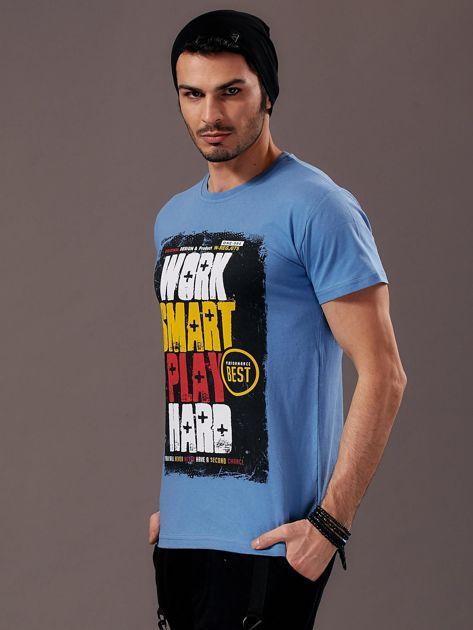 Jasnoniebieski t-shirt męski Work Smart                               zdj.                              3