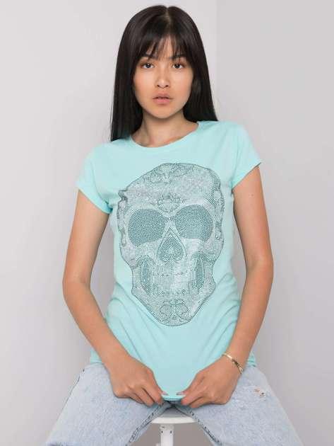 Jasnoniebieski t-shirt z aplikacją Skull