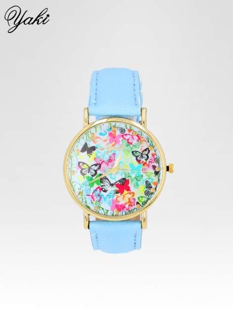 Jasnoniebieski zegarek damski na pasku z kwiatową tarczą                                  zdj.                                  1