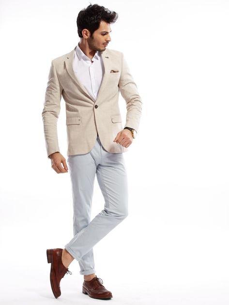Jasnoniebieskie bawełniane spodnie męskie                               zdj.                              11
