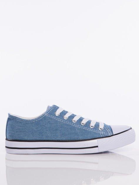 Jasnoniebieskie denim jeansowe trampki na białej podeszwie                              zdj.                              1