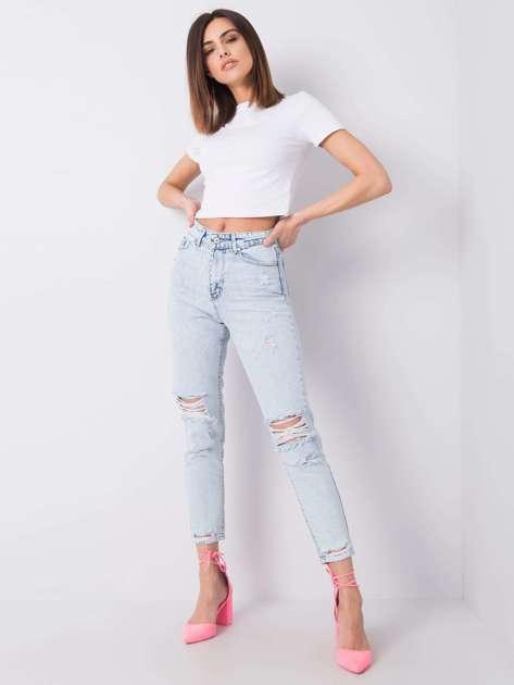 Jasnoniebieskie jeansy z rozdarciami Milana RUE PARIS