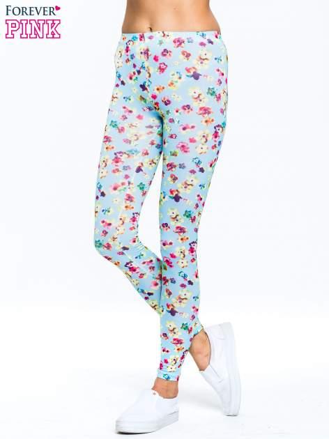 Jasnoniebieskie legginsy w kwiatki                                  zdj.                                  1