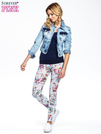 Jasnoniebieskie legginsy z motywem sowy                                  zdj.                                  2