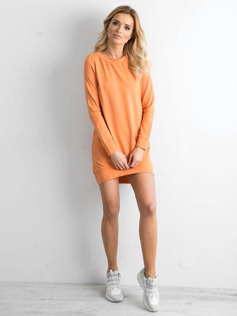 Jasnopomarańczowa dresowa tunika basic                              zdj.                              4
