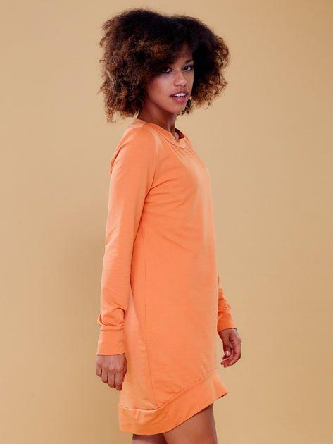 Jasnopomarańczowa dresowa tunika basic                              zdj.                              6