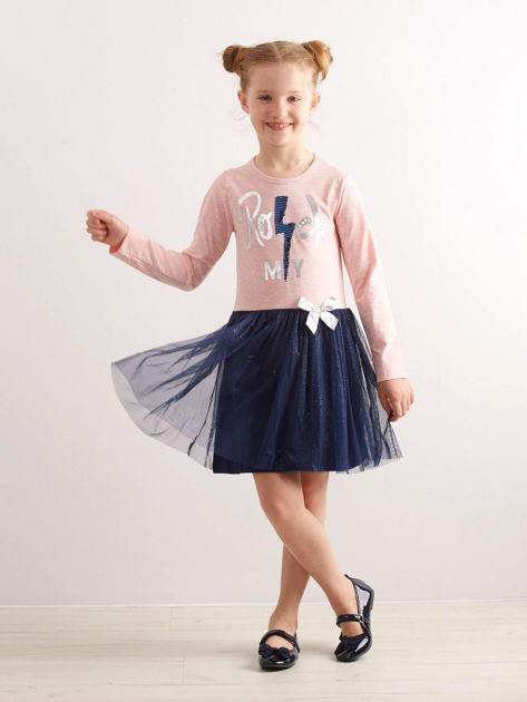 Jasnoróżowa bawełniana sukienka dla dziewczynki                              zdj.                              4