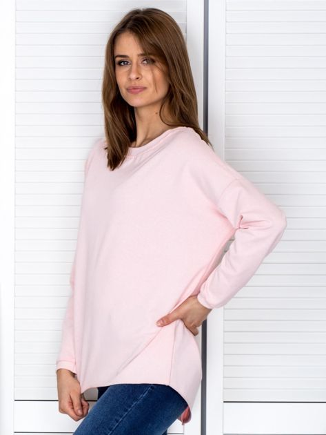 Jasnoróżowa bluza z listwą z perełek                                  zdj.                                  3