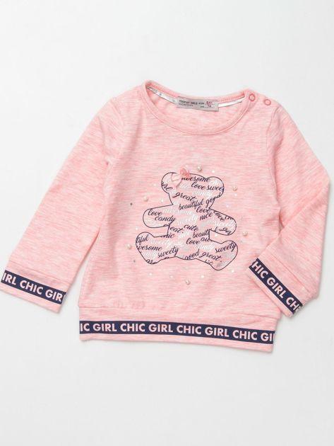Jasnoróżowa bluzka dla dziewczynki z perełkami                              zdj.                              1