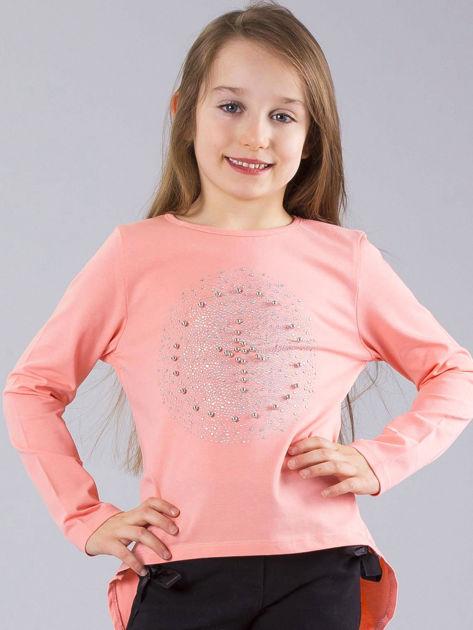 Jasnoróżowa bluzka dziewczęca z błyszczącą aplikacją