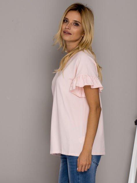 Jasnoróżowa bluzka z falbanami na rękawach                                  zdj.                                  5