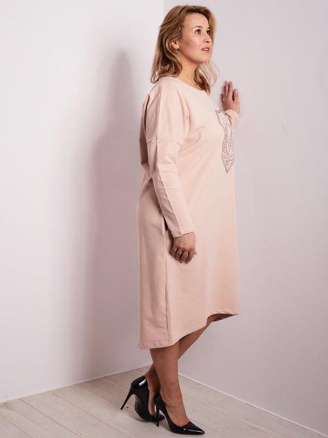 Jasnoróżowa dresowa sukienka z kieszeniami PLUS SIZE                              zdj.                              4