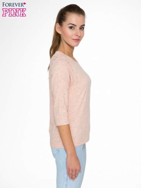 Jasnoróżowa melanżowa bluzka z rękawami 3/4                                  zdj.                                  3