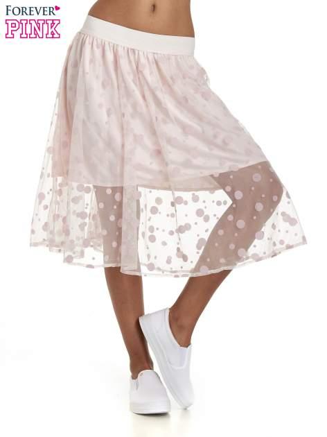 Jasnoróżowa spódnica z tiulową warstwą w groszki