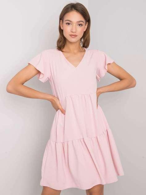 Jasnoróżowa sukienka z falbaną Manette RUE PARIS