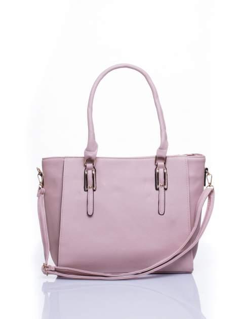 Jasnoróżowa torba shopper bag z odpinanym paskiem