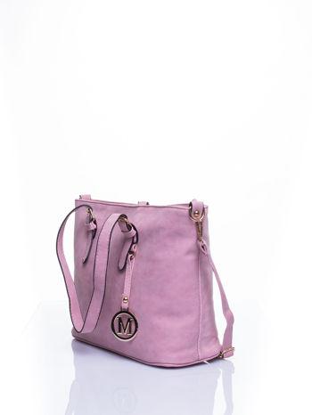 Jasnoróżowa torba shopper bag z zawieszką                                  zdj.                                  4