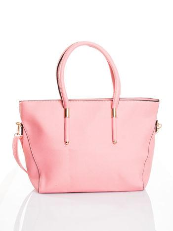 Jasnoróżowa torba shopper efekt saffiano