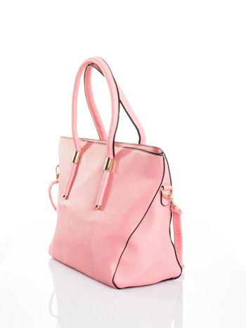 Jasnoróżowa torba shopper efekt saffiano                                  zdj.                                  4