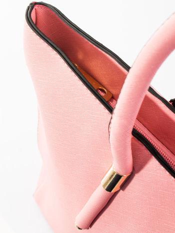 Jasnoróżowa torba shopper efekt saffiano                                  zdj.                                  9